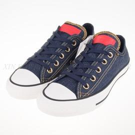 CONVERSE  All Star 低筒 丹寧牛仔 帆布鞋-深藍-151077C