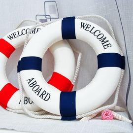 地中海風格家居飾品工藝品擺件 救生圈裝飾游泳圈裝飾掛飾14^~45cm