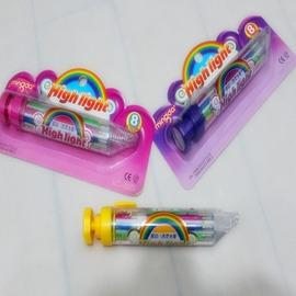 歐洲 兒童蠟筆熒光筆閃光筆 可自由按動多色畫筆 8色畫筆