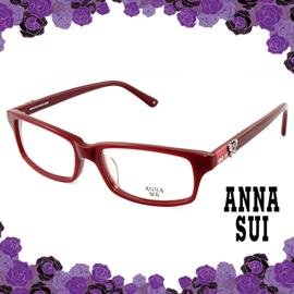 ANNA SUI 安娜蘇 立體鑲鑽 光學方框^(酒紅^) AS521233