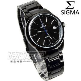 SIGMA  腕錶 IP黑電鍍 銀色指針 不�袗�帶 女錶 9814B~LB