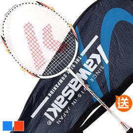 【KAWASAKI】KBC1000碳羽球拍P046-KBC1000(送球拍袋)含線拍穿線拍碳纖維鋁合金羽毛球拍羽球拍套男女運動用品健身器材推薦另售羽球網
