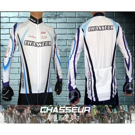 輕騎兵 炫藍萊卡長袖車衣 全萊卡製作 冰涼 彈性 貼身 零碼 ^(車衣 車褲 ^)