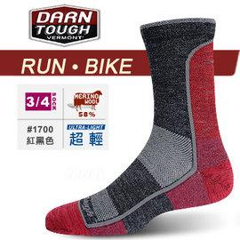 【美國 DARN TOUGH 】VERMONT MICRO CREW MESH ULTRA LIGHT 跑步.自行車系列襪子/美麗諾羊毛襪.雪襪.滑雪.登山_黑紅色 #1700