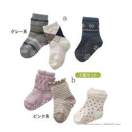 ^~^~阿布 ^~^~~C4130~條紋格紋點點泡泡女孩男孩短襪 寶寶防滑襪 襪子^(3枚