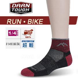 【美國 DARN TOUGH 】女 VERMONT MERINO WOOL 1/4 SOCK MESH 慢跑.單車系列襪子/美麗諾羊毛襪.雪襪.滑雪.登山_紅灰色 #1493