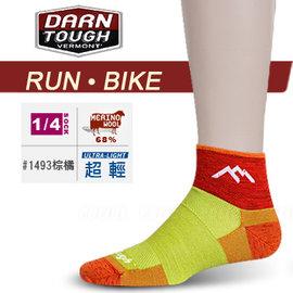 【美國 DARN TOUGH 】女 VERMONT MERINO WOOL 1/4 SOCK MESH 慢跑.單車系列襪子/美麗諾羊毛襪.雪襪.滑雪.登山_棕橘色 #1493