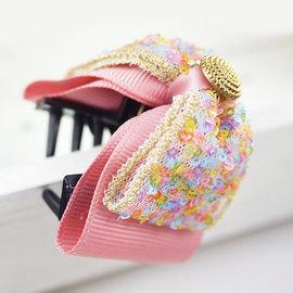 ~粉紅堂 髮飾~亮眼公主頭 蝴蝶結抓夾 ~粉紅色~