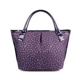 正品~專櫃品牌 Agnes b ~ 金蔥三層水餃包 手提包 托特包 ^(紫色~大^) 在台