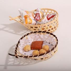 魚尾收納竹籃子 小竹籃小果盤果籃 小零食籃家居裝飾