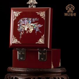 錦貝 螺鈿漆器貝殼首飾盒實木質 韓國公主珠寶盒飾品盒首飾收納