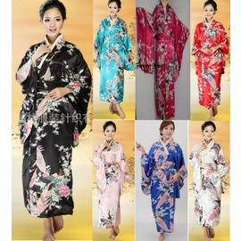 正裝料理工作 ^~ 女士式絲綢孔雀民族和服裝睡袍 黑色 PX006