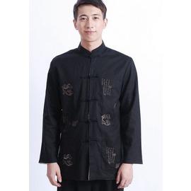 唐裝男長袖 中式男外套 盤扣 男上衣 中式立領 黑 米白 棉麻