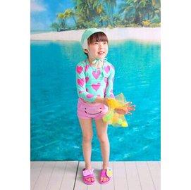 愛心圖案 微笑泳褲 款長袖防曬女童泳裝 兒童泳衣 粉色泳褲款