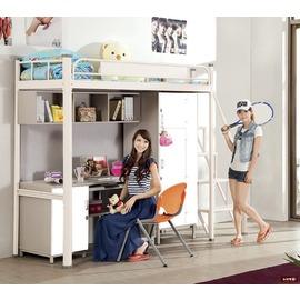 ~台北家福~^(FC085~2^)艾倫3尺白色高層床組~側梯傢具
