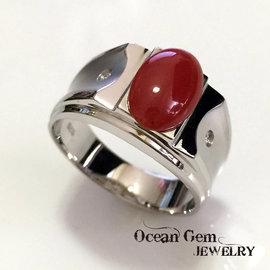 ~Ocean Gem~海洋之心 天然紅珊瑚橢圓蛋面尊榮 男用戒指 96240503