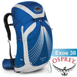 【美國 OSPREY】熱賣款 Exos 38L 3D立體網架健行背包(透氣+超輕鋁合金_M)/可拆式背包.自助旅行.旅遊.出國打工.自行車環島_太平洋藍 R
