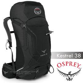 【美國 OSPREY】新款 Kestrel 38L 小鷹級 輕量健行登山背包(3D立體網背/附背包套/緊急哨/登山杖扣)自助旅行.出國打工旅遊_岩灰色 R