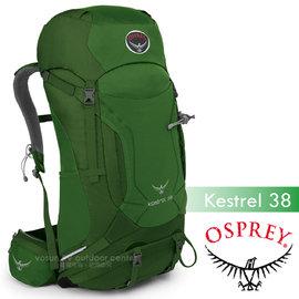 【美國 OSPREY】新款 Kestrel 38L 小鷹級 輕量健行登山背包(3D立體網背/附背包套/緊急哨/登山杖扣)自助旅行.出國打工旅遊_叢林綠 R