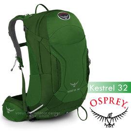【美國 OSPREY】新款 Kestrel 32L 小鷹級 輕量健行登山背包(3D立體網背/附背包套/緊急哨/登山杖扣)自助旅行.出國打工旅遊_叢林綠 R