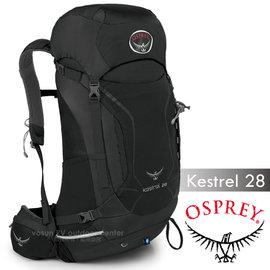 【美國 OSPREY】新款 Kestrel 28L 小鷹級 輕量健行登山背包(3D立體網背/附背包套/緊急哨/登山杖扣)自助旅行.出國打工旅遊_岩灰色 R