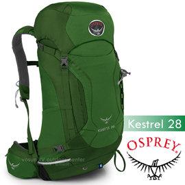 【美國 OSPREY】新款 Kestrel 28L 小鷹級 輕量健行登山背包(3D立體網背/附背包套/緊急哨/登山杖扣)自助旅行.出國打工旅遊_叢林綠 R