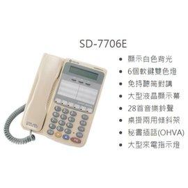 ~演達 館~東訊話機 SD~7706E^(6鍵顯示型^)~東訊SD系列 機 話機~TECO