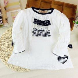 ^~薄長袖^~ corneiue百褶花邊領結式長袖上衣 白色 黑色 春  嬰幼兒衣服 小童
