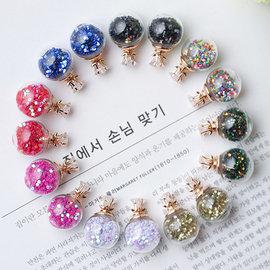 PS Mall 五角星星鋯石大小氣泡玻璃球水晶雙面耳釘 耳環 耳飾~G1902~