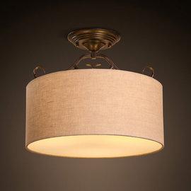 5Cgo~ 七天交貨~521522524411 燈具美式復古古亞麻布藝吸頂燈新中式歐式客廳
