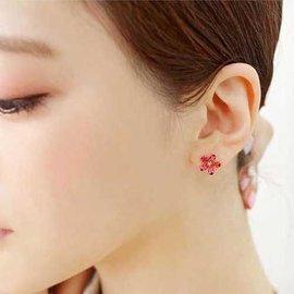 PS Mall  甜美高檔精緻鋯石微鑲藍寶石四葉小花滿水晶耳釘 耳環 耳飾~G1909~