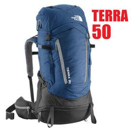 【美國 The North Face】新款 TERRA 50L 專業登山健行雙肩背包(可調人體工學背負_抗撕裂_求生哨).適自助旅行/A6K0 深藍/中灰