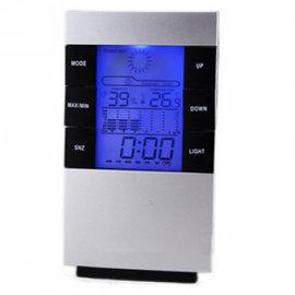 多 桌上電子鐘 濕度計 溫度計 鬧鐘 日期時間 天氣預報 可藍光大屏幕顯示3210