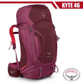 【美國 OSPREY】女新款 Kyte 46L 小鷹級 輕量健行登山背包(3D立體網背/附背包套/求生哨/登山杖扣)自助旅行.出國打工旅遊_海芋紫 R