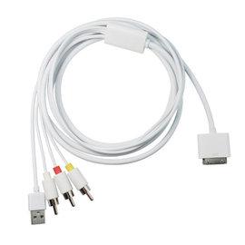 iphone3GS iphone4 ipad2/3 AV線+USB充電 MHL轉AV TV電視線/轉接線/視頻輸出線(可充電)  [DMI-00006]