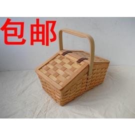 野餐籃高檔木編手提箱收納籃水果籃保潔籃 籃酒店用品籃藤編籃