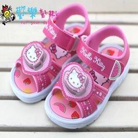 ~歡樂童鞋 ~Hello Kitty~816829桃~電燈涼鞋^(14cm~19cm^)