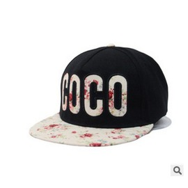 COCO字母刺繡碎花平沿棒球帽子女春夏 旅游帽嘻哈平板帽潮
