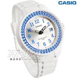 CASIO卡西歐 潛鑽女王簡潔 風指針日曆腕錶 白X藍框 女錶 LX~500H~2B LX