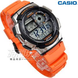 CASIO卡西歐 10年電力錶款 飛機儀表板 橡膠錶帶 電子錶 橘色 AE~1000W~4