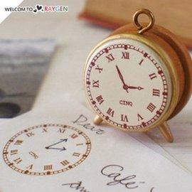 創意復古時鐘鬧鐘造型木質印章【HH婦幼館】