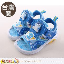 男童涼鞋 製POLI 閃燈 涼鞋 魔法Baby^~sa61106