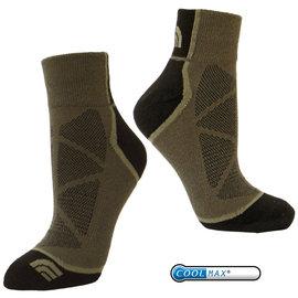 【美國 The North Face】新款杜邦 COOLMAX 3D彈性機能登山健行襪.短筒運動襪(吸濕排汗).三鐵跑步襪.抗菌休閒襪.短襪/A2RS 灰咖啡/黃褐
