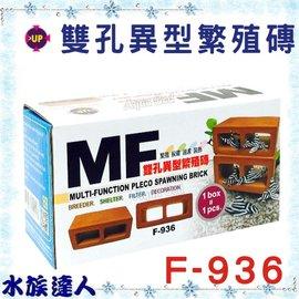 【水族達人】雅柏UP《雙孔異型繁殖磚 精緻陶瓷  空心磚 躲藏 過濾 裝飾 造景 F-936)》(單入)