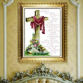 印花的基督教十字繡 宗教十字繡 耶穌復活 英文主禱文十字繡