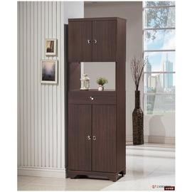 ~台北家福~^(FP502~4^)日式和風雪杉胡桃色2尺雙面櫃傢俱