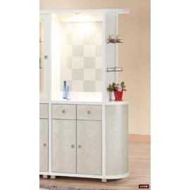 ~台北家福~^(FP504~2^)白色半圓玻璃雙面櫃傢俱