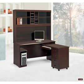 ~台北家福~^(FP633~1^)艾倫胡桃4.4尺轉角書桌 電腦桌^(全組^)傢俱