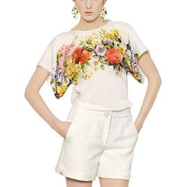 寬袖 誘人花卉短T恤