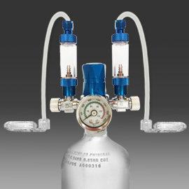 CO2電磁壓力錶雙出口 雙止逆計泡組 鋁瓶1L上開~惠弘